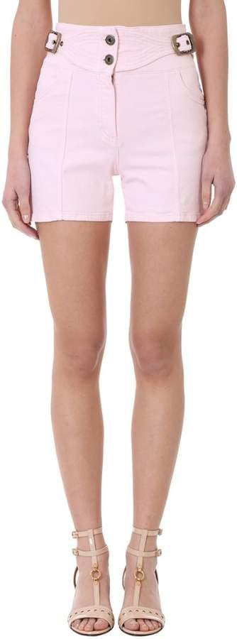 Pink Denim Cotton Shorts