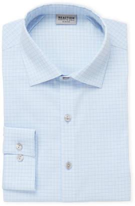 Kenneth Cole Reaction Blue Horizon Dot Check Slim Fit Dress Shirt