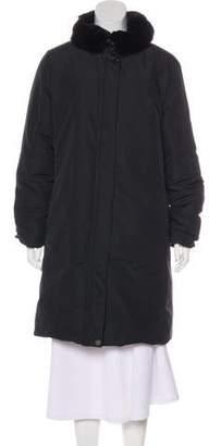 Max Mara Weekend Fur Trimmed Long Coat