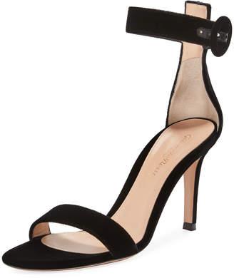 Gianvito Rossi Portofino 85 Velvet Ankle-Strap 85mm Sandal