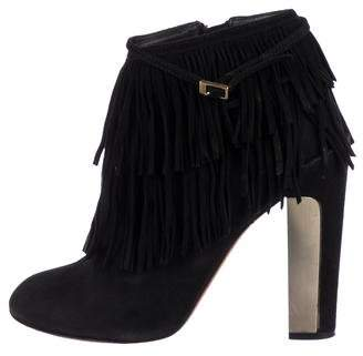 Brian Atwood Fringe Suede Ankle Boots