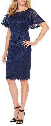 Jackie Jon Short Sleeve Lace Sheath Dress