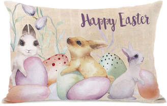 One Bella Casa Happy Easter Bunnies and Eggs Throw Pillow