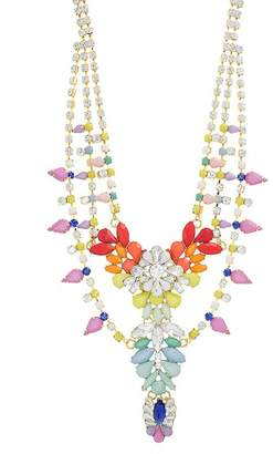 Steve Madden Crystal Glass Bib Necklace