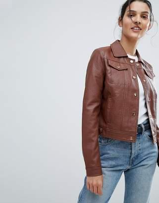 Urban Code Urbancode Trucker Jacket in Leather Look