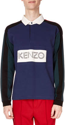 Kenzo Men's Colorblock Long-Sleeve Rugby Polo Shirt