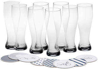 Mikasa Set of 8 Wheat Beer Glasses with Coasters