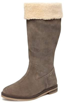 Evans Extra Wide Fit Grey Suede Borg Collar Long Boots