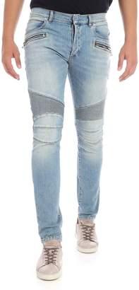 Balmain Light Wash Biker Jeans