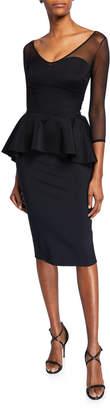 Chiara Boni Arquette Illusion 3/4-Sleeve Peplum Cocktail Dress