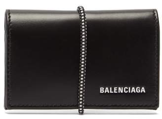 Balenciaga Logo Elasticated Band Leather Cardholder - Mens - Black