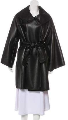 Bottega Veneta Leather Knee-Length Coat