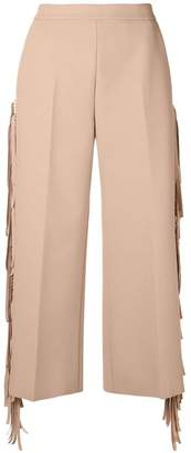 MSGM fringed cropped trousers