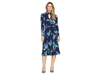 Maggy London Floral Jersey Fit and Flare Dress with Pleated Skirt