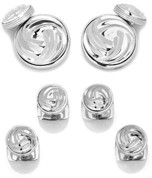 Cufflinks Inc. Modern Knot Sterling Silver Cuff Links & Stud Set