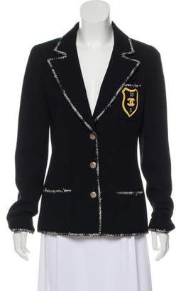 Chanel Tweed-Trimmed Wool Blazer