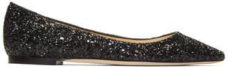 Jimmy Choo Black Glitter Romy Flats