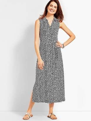 Talbots Sleeveless Cheetah-Print Shirtdress