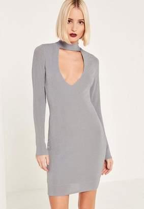 Missguided Grey Metallic Choker Neck Curve Hem Bodycon Dress