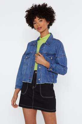 Nasty Gal Easy For You to Fray Cropped Denim Jacket