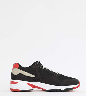 save off b9de5 d9a93 Asos Design DESIGN Wide Fit trainers in black and red with chunky sole