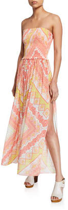 Ramy Brook Calista Printed Smocked Strapless Coverup Dress