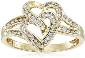 10K Gold Diamond Two Hearts Ring (1/10 cttw)