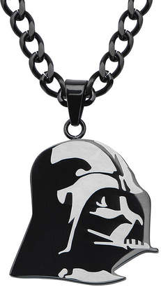 Star Wars FINE JEWELRY Darth Vader Mens Stainless Steel & Black IP Etched Pendant Necklace