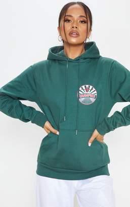 PrettyLittleThing Green Champion Slogan Oversized Hoodie