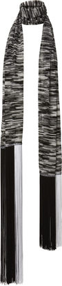 Missoni Black And White Fringe Knit Scarf $395 thestylecure.com