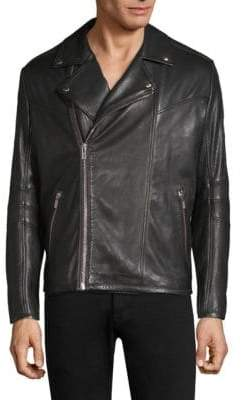 HUGO Lanster Shearling-Lined Leather Biker Jacket