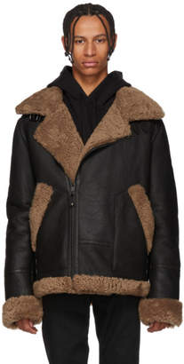 Yves Salomon Black and Brown Shearling Jacket