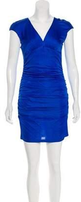 Black Halo Ruched Mini Dress