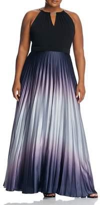 City Chic Plus Pleated Ombré Maxi Dress