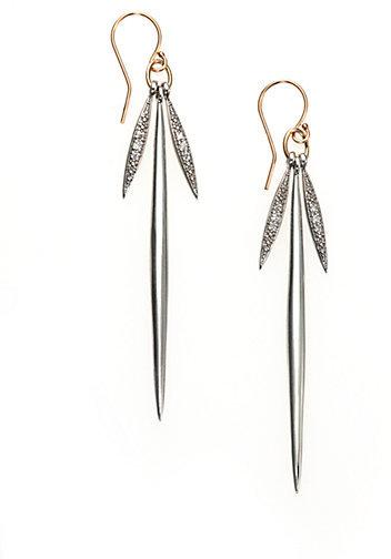 Mizuki Diamond, Sterling Silver & 14K Yellow Gold Icicle Drop Earrings