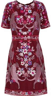 Marchesa Embroidered Tulle Mini Dress