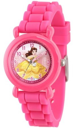 Disney Princess Belle Girls' Pink Plastic Time Teacher Watch, Pink Silicone Strap