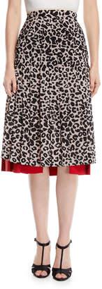 No.21 No. 21 Pleated Leopard-Print Draped Silk Midi Skirt