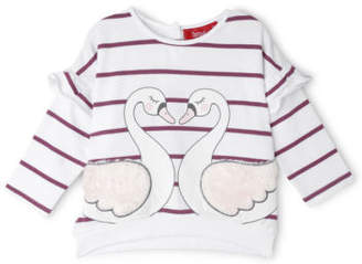 Sprout NEW Girls Frill Sweat Top White