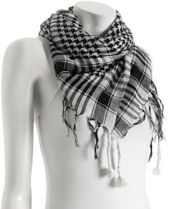 Elizabeth Gillett black check 'Egypt' fringed scarf