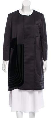 Rue Du Mail Velvet-Accented Knee-Length Coat w/ Tags