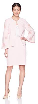 Tahari by Arthur S. Levine Women's Petite Crepe Skirt Suit with Flower Embellishment on Sleeve