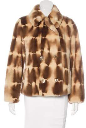 Neiman Marcus Double-Breasted Sheared Mink Coat