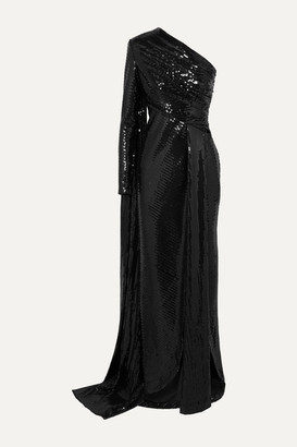 Elie Saab One-sleeve Draped Sequined Tulle Gown - Black