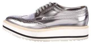 Prada Metallic Platform Oxfords