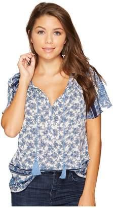 Lucky Brand Border Print Top Women's Short Sleeve Pullover