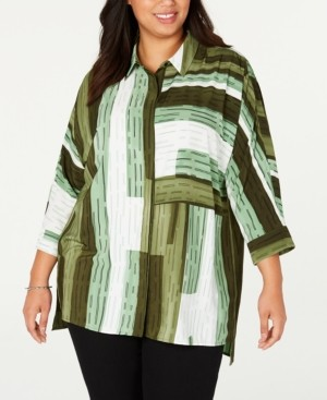 Alfani Plus Size Printed Button-Front Tunic Top, Created for Macy's