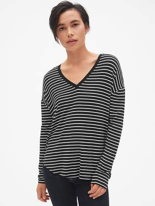 Gap Long Sleeve Stripe V-Neck T-Shirt in Luxe Jersey