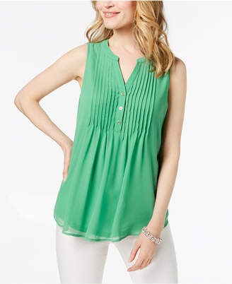 Charter Club Pintucked Sleeveless Top, Created for Macy's