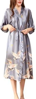Zhhmeiruian Nightgown Satin Sexy Robe Long Kimono Nightwear for Women Plus